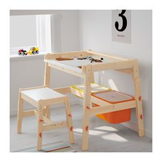 FLISAT Children's desk IKEA The desk can be adjusted to three different heights, so it can be used for homework or arts and crafts for many years.