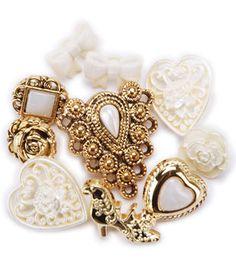 Favorite Findings Buttons-Lace Treasures 9/pkg