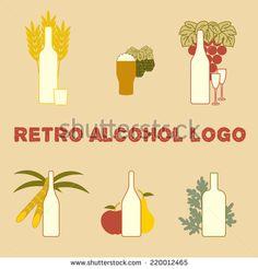 Set of retro alcohol logos for your design