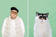 ¿Te pareces a tu gato? Disfruta de este proyecto donde el fotógrafo Gerrard Gethings une a personas con sus dobles gatunos Scottish Fold, Maine Coon, I Love Cats, Cool Cats, Side Portrait, Dancing Cat, Abyssinian, Funny Bunnies, Bored Panda
