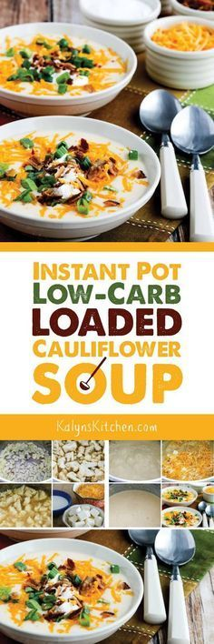 Instant Pot Low-Carb Loaded Cauliflower Soup is a soup recipe I make over and over, and this tasty soup is also Keto, low-glycemic, gluten-free, and can be South Beach Diet friendly. Use the Diet-Type…More 25 Awesome Keto Diet Friendly Instant Pot Ideas Healthy Recipes, Low Carb Recipes, Soup Recipes, Cooking Recipes, Vegetarian Recipes, Cooking Food, Drink Recipes, Seafood Recipes, Crockpot Recipes