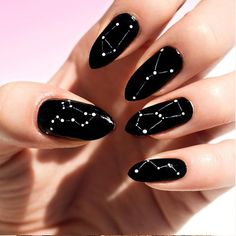 The Major Nail Trend You Haven't Seen Yet Stars have been a huge trend recently and now trends are getting more cosmic with the new constellation nail designs. Why just read your horoscope when you can wear your sign too? Crazy Nail Art, Crazy Nails, Cool Nail Art, Nagellack Design, Nagellack Trends, Black Nail Designs, Nail Art Designs, Crazy Nail Designs, Design Art