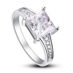 New 1.5 Carat Princess Cut CZ Cubic Zirconia Sterling Silver Ring by CubicZirconiaRings, $34.95