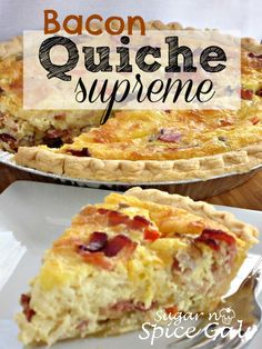 Sugar n' Spice Gals: Bacon Quiche Supreme. from sugar-n-spicega… Sugar n' Spice Gals: Bacon Quiche Supreme. from sugar-n-spicegals… What's For Breakfast, Breakfast Items, Breakfast Dishes, Breakfast Recipes, Bacon Breakfast, Breakfast Quiche, Quiches, Quiche Recipes, Brunch Recipes