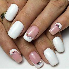 Bridal white mani with rhinestones :: one1lady.com :: #nail #nails #nailart #manicure