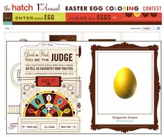 2008: The Hatch 1st Annual Easter Egg Coloring Contest. Must contribute. (love the pulldown to select how many eggs you'd like to see on each page: 1 DOZEN) (via Mr.Glass)