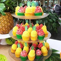 Birthday Cupcakes birthday ideas pineapple and watermelon cupcakes Party Deco, Luau Theme Party, 2nd Birthday Party Themes, Fruit Party, Birthday Ideas, 30th Birthday, Tropical Party Foods, Summer Birthday, Pool Party Foods