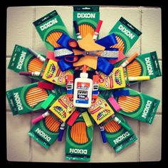 Back-to-School Wreath.  #Create2Educate #Sweepstakes. Enter your own project for a chance to win a $50 gift card to Michaels.   Learn more:  https://www.facebook.com/Michaels?sk=app_584051421645085