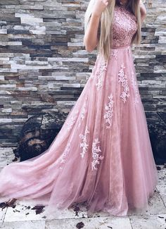 A-Line Cheap Prom Dresses,Backless Pink Prom Dresses,Tulle Prom Dress with Appliques,Tulle Prom Dresses,Backless Prom Dresses,Prom Dress
