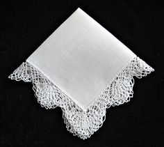 Wedding Handkerchief -- White -- Vintage -- Lacy Crochet Border -- Handmade Needlework