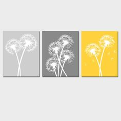 more yellow and gray prints for a nursery. could paint something similar myself, maybe a white and yellow daisy on light gray?