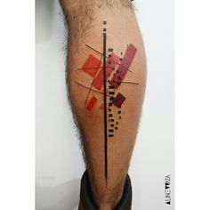 Red Geometry Calf Tattoo