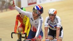 Britain's Laura Trott celebrates winning the women's scratch race