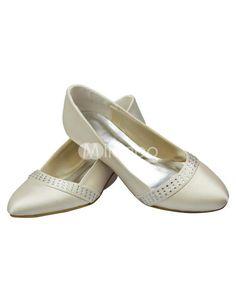 86974110de7 Ivory Rhinestone Kitten Heel Satin Bridal Wedding Shoes. See More Bridal  Shoes at http