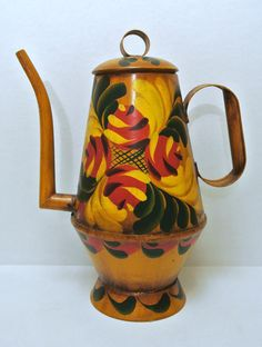 Vintage Hand Painted and Signed Leo Burton Toleware Decorative Colonial Style Folk Art Coffee Pot by WallflowerAntiques on Etsy