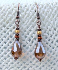 Amber Colored Glass Teardrop Bead Earrings - Vee