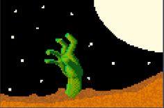 Awesome halloween-season pixel art made in the Sandbox!