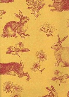 Interior Place - Golden Yellow Red AT4262 Bunny Toile Wallpaper, $31.20 (http://www.interiorplace.com/golden-yellow-red-at4262-bunny-toile-wallpaper/)