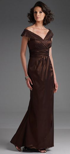 Sheath Column Elastic Satin Off The Shoulder Chocolate Mother Of Bride Dress Lynda Rygmyr Son S Wedding