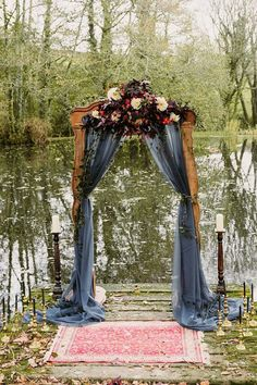 Our beautiful rustic arch on the lake for a wedding ceremony - . Our beautiful rustic arch on the lake for a wedding ceremony - . Always wanted . Romantic Wedding Centerpieces, Rustic Wedding Backdrops, Wedding Ceremony Backdrop, Lake Wedding Decorations, Fall Wedding Arches, Lake Wedding Ideas, Wedding Ceremonies, Gothic Wedding Ideas, Wedding Reception