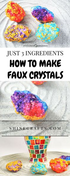 Learn how to DIY this unique bohemian room decor faux crystals using just 3 basic kitchen ingredients. It's super easy and super cheap, but looks kinda expensive!!