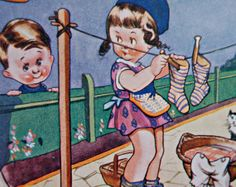 1935 comic cartoon postcard of a young girl hanging by nancyplage, £3.00