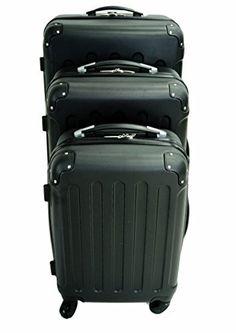 #Todeco – Set de 3 #valises #Trolley noires – #Valise rigide à roulettes avec sécurité