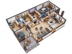 Projekt domu Murator M132 Wariantowy 128,2 m2 - koszt budowy - EXTRADOM Single Floor House Design, Best Modern House Design, Sims House Design, Bungalow House Design, Home Room Design, Small House Design, Home Design Plans, House Floor, House Plans Mansion