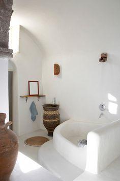 "bathroom at rental villa | ""cyrene santorini"" | greece"