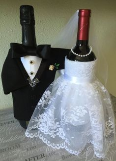 Bride and Groom bottle covers, Champagne, Wine, Wedding centerpieces, Engagement Party, Head Table, bachelorette, Lace-Satin-faux pearls by OneGiftPlace on Etsy