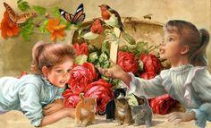 Girls - butterfly, girls, cat, rose, spring, kids, red Butterfly, Wallpaper, Cats, Rose, Spring, Girls, Painting, Toddler Girls, Gatos