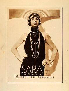 """Saba Hörer"" This is an original 1926 photogravure of an advertising poster by Ludwig Hohlwein for Saba, a German brand of radio and radio equipment. (Please no"