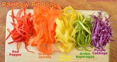Veggie ribbons! For for kids to make, and easy for them to eat! #veggiesforkids #funfood