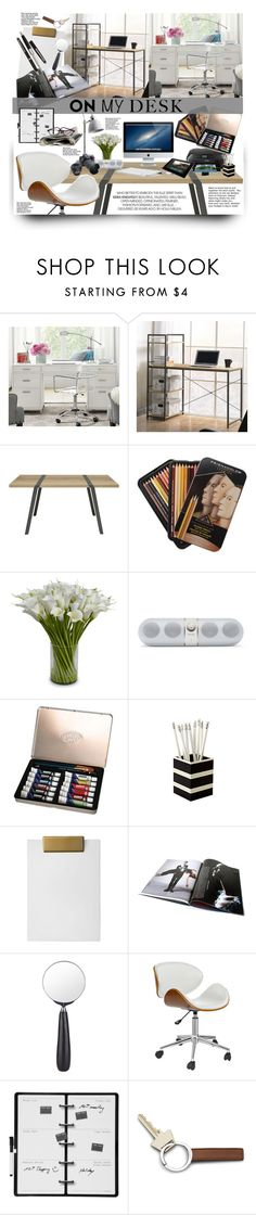 """What's on My Desk?"" by ceci-alva ❤ liked on Polyvore featuring interior, interiors, interior design, home, home decor, interior decorating, Pottery Barn, Moaroom, New Growth Designs and Nate Berkus"