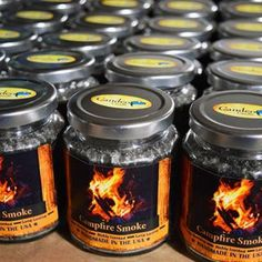 Campfire Smoke, Wood Wick, 8oz Candle Jar – Candeo Candle Glass Jars, Candle Jars, Smoke Smell, Wood Wick Candles, Roasting Marshmallows, Open Fires, Coffee Cans, Instagram Feed, Wicked