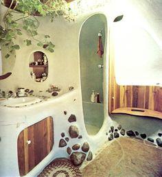 Tolle Dusche mit runden Lehm Formen