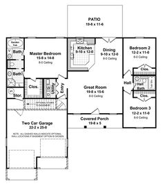 Simple Small House Floor Plans | Small House Plans: 1HPNET-1400-1 - 3 Beds | 2 Baths | 1400 living sq ...
