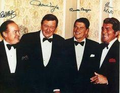 Bob Hope,John Wayne,Ronald Reagan,Dean Martin. Rare signed photo.