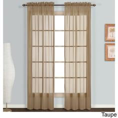 """United Monte Carlo Extra Long Length Sheer Panel Pair (118"""" x 95"""" Taupe), Brown, Size 118 x 95 (Polyester, Solid)"""