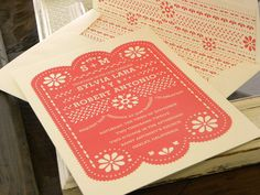 Papel Picado Invitation set in Coral and Ecru by citlali on Etsy, $3.50
