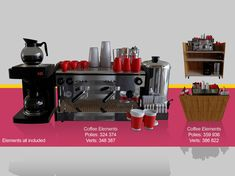 Coffee machine for barista cafeteria away cart coffee coffee-machine, formats BLEND, ready for animation and other projects