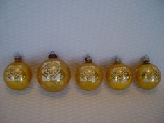Set of 5 Gold Stenciled Glass Ornaments Shiny by GandTVintage