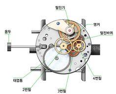 시계의 원리 이미지 11. 에너지를 공급하는 장치: 용두, 태엽통(1번 wheel) 2. 에너지를 시계내부로 전달하는 장치: 2~4번 wheel train(톱니바퀴 시스템) 3. 에너지가 한꺼번에 손실되지 않게 하는 장치: 탈진바퀴, 앵커 4. 규칙적인 시간의 흐름을 가능하게 하는 장치: 탈진기 5. 시간을 나타내주는 장치: 초침, 분침, 시침