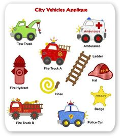 City Vehicles Embroidery Applique Designs