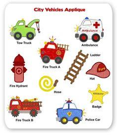 City Vehicles Embroidery Applique Designs Applique Embroidery Designs, Machine Embroidery Applique, Applique Patterns, Embroidery Stitches, Ambulance, Tow Truck, Trucks, Truck Art, Fire Truck