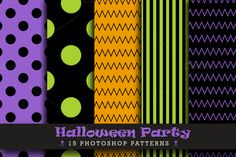 Check out Halloween Party by Digital Art Creations on Creative Market... #halloween #party #halloweencolors #photoshoppattern #dots #polkadots #dotspattern #stripes #stripespattern #chevron #chevronpattern #creativemarket #digitalartcreations