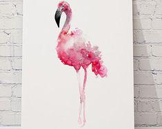 Fenicottero Rosa Set 3 stampe d'arte di ColorWatercolor su Etsy