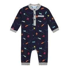 af2b1bf4e3bc Baker by Ted Baker Baby boys  navy plane print romper suit