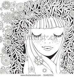 Girl in a knitted Fluffy hood. Pattern for coloring book. Winter snowflakes. Sketch. Warm clothes. Coloring book page for adult. Hand-drawn vector illustration. Zentangle patterns.