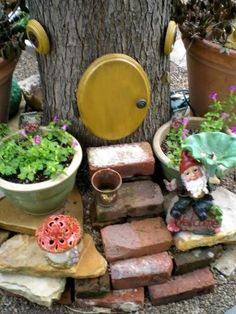 Gnome home...love the brick steps!  and a lot more gnome/fairy garden ideas in this link!!
